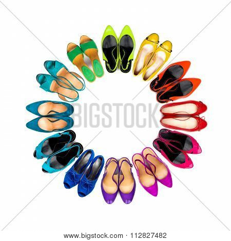 Multicolored Female Shoes Frame
