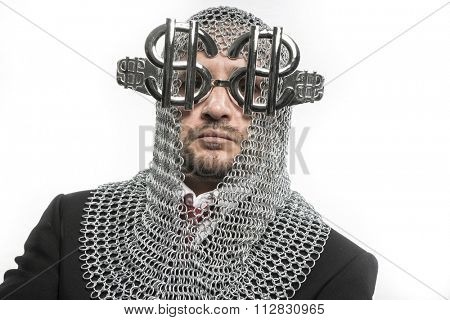 economy, businessman with medieval executioner in metal and silver glasses. concept of protection of savings and money poster