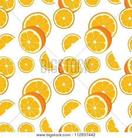 Vector seamless background of orange slices.