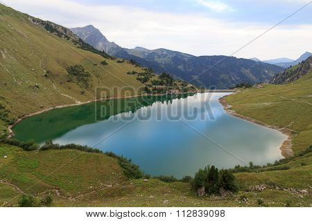 Lake Traualpsee and mountains in Tyrol Austria