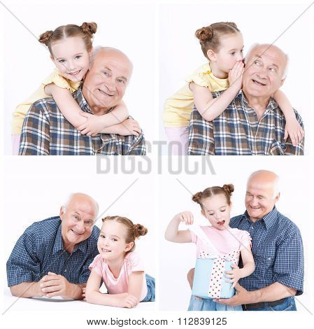 Granddaughter and grandfather enjoying themselves.