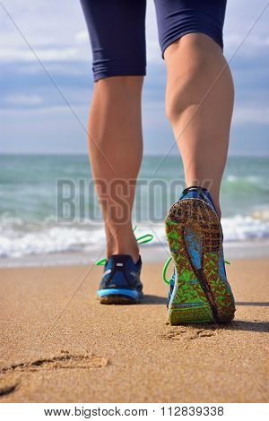 Woman's Legs, Runner's Legs Ocean Beach.