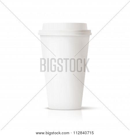 White travel mug, coffee cup.