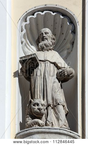 LEPOGLAVA, CROATIA - SEPTEMBER 21: Saint Jerome on the portal of Holy Cross, parish Church of the Immaculate Conception of the Virgin Mary in Lepoglava on September 21, 2014