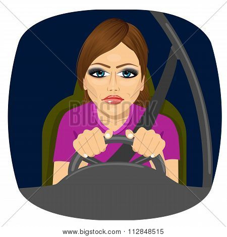 sleepy female driver dozing off while driving