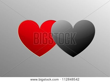 Hert Red Paper And Heart Black Paper