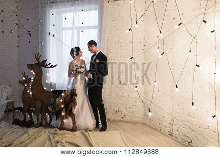 Beautiful Young Bride And Groom Embracing In The New Year Interior