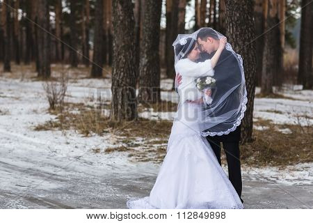 Young Couple Newlyweds Walking In A Winter Forest In The Snow
