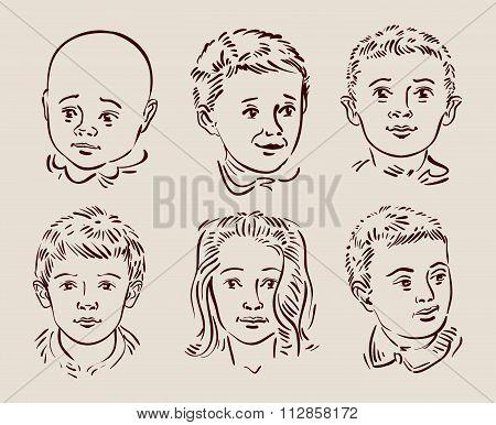 hand-drawn children. vector illustration