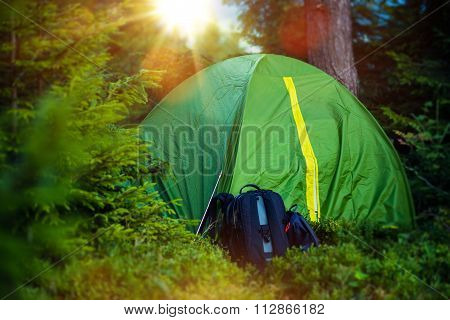 Tent Camping And Backpack