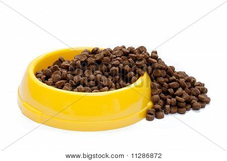 Pet Food In Yellow Bowl