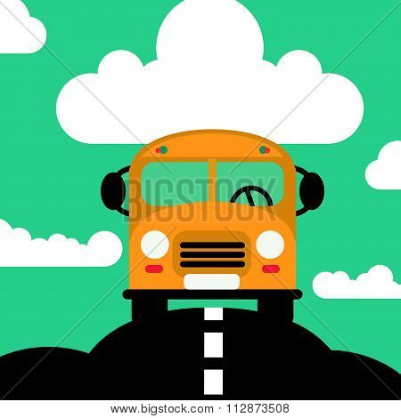 Back to school bus, vector illustration