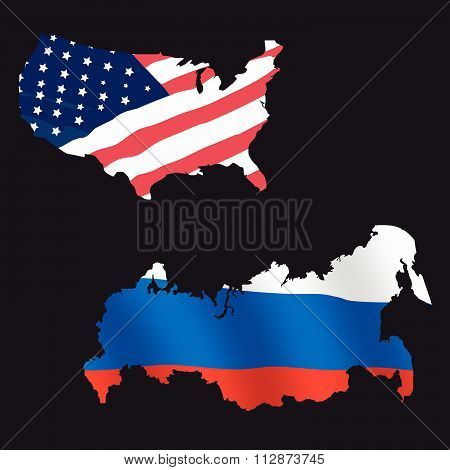 Usa and Russia concept vector illustration