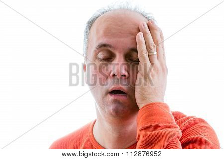 Man asking himself what I have done deplored for his actions holding his side of head with guilt poster