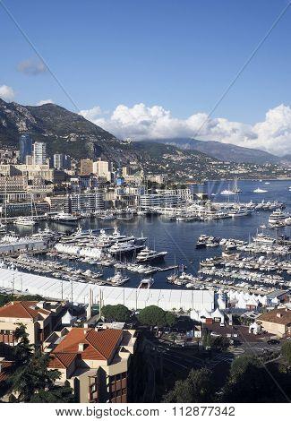 Panoramic Harbor View Monte Carlo Monaco Europe  Yachts Sailboats Condos