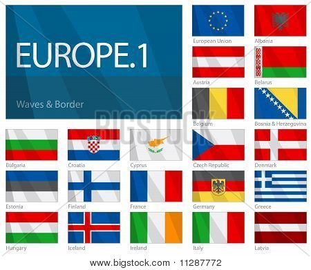 Waving Flags of European Countries - Part 1