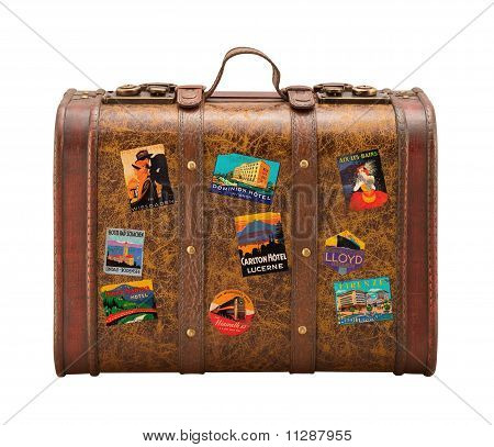Old Suitcase Travel Stickers Isolated  With A Clipping Path