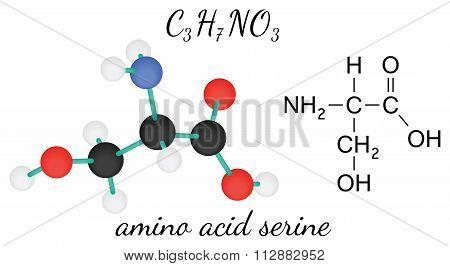 C3H7NO3 serine amino acid molecule