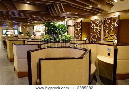 SINGAPORE - NOVEMBER 10, 2015: interior of Plaza Premium Lounge. Plaza Premium Lounge is a global service brand headquartered in Hong Kong