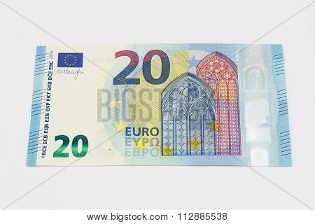 New Twenty 20 Euro Banknote Bill Front From The Europe Series