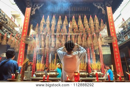 Students offered incense Buddhist ceremony peace