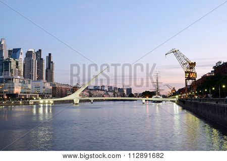 Buenos Aires - December 2, 2015: Night View Of Puerto Madero