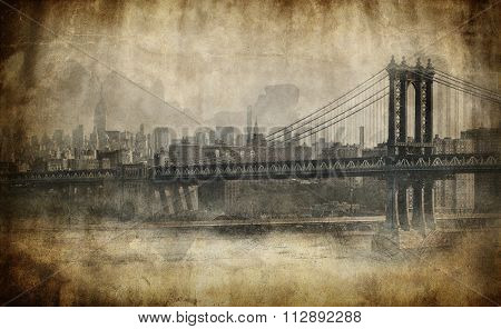 Toned aged grungy stained view of New York city with Brooklyn Bridge crossing the East River in the foreground, artistic effect