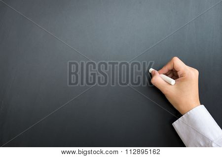 Blank Black Board With Hand And Chalk