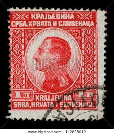 YUGOSLAVIA - CIRCA 1924: A stamp printed in Yugoslavia (Kingdom Serbia, Croatia and Slovenia) shows portrait of King Alexander I of Yugoslavia, series King Alexander I, circa 1924