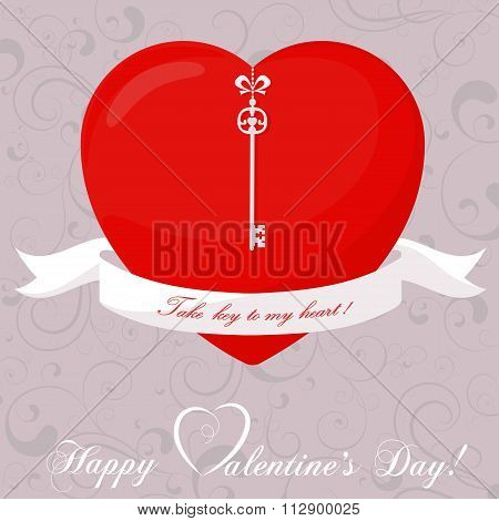Banner For Design Posters Or Invitations On Valentine's Day With Cutest Abstract Symbol Heart, K