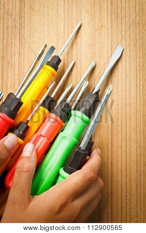 Red Yellow Green Screw Driver