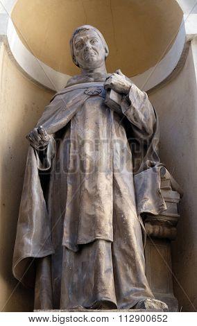 LJUBLJANA, SLOVENIA - JUNE 30: Saint Thomas Aquinas on the facade of St Nicholas Cathedral in Ljubljana, Slovenia on June 30, 2015