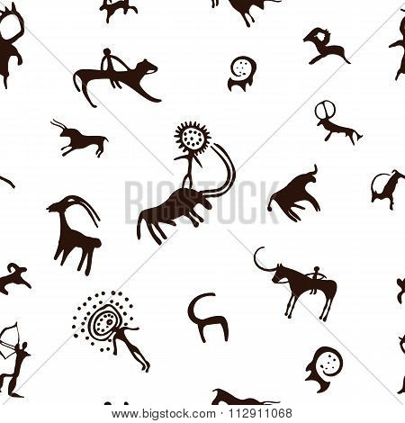 Cave painting seamless pattern
