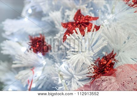 Decorated white Christmas tree