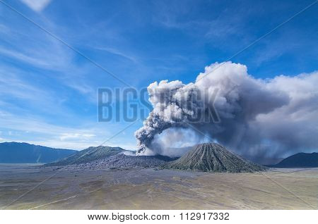A view of Mount Bromo East Java in Semeru Tengger National Park Indonesia during eruption.