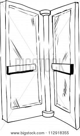 Outlined Revolving Door Pane