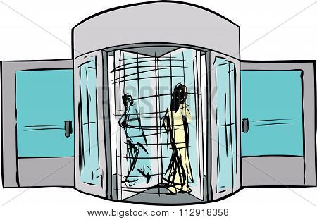 Two People In Revolving Doorway