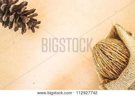 Dried Plant Ornament On Wooden Background