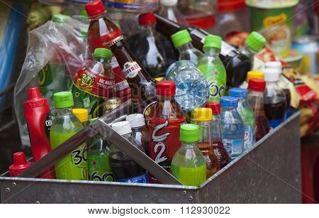 Many brands of soft drink at a flea-mobile-beverage stall
