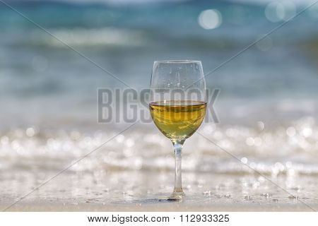 Tall Wine Glass On Sand