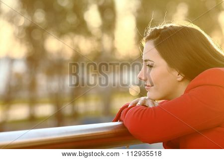 Pensive Girl Thinking In Winter