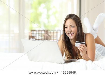 Shopper Shopping Online With Credit Card And Laptop