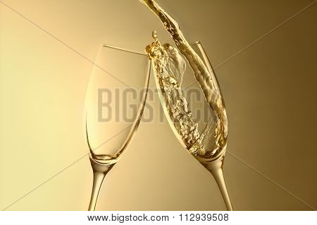 celebration, aniversary or new year champagne splash background