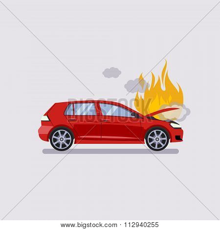 The broken hood of the red car is covered with fire and smoke. Flat style vector illustration