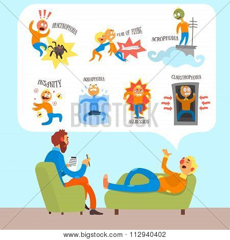 Psychotherapist with Lying Patient Discussing Phobia. Simple Vector Illustration