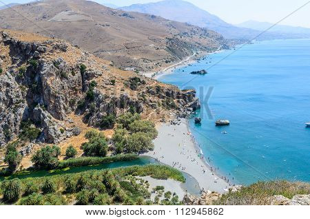 Palm beach and River Megas Potamos in Preveli, Crete island, Greece