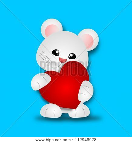 Cute Animal With Red Heart