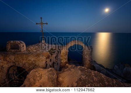 Beautiful  Moonrise At Cape Kaliakra, Black Sea, Bulgaria