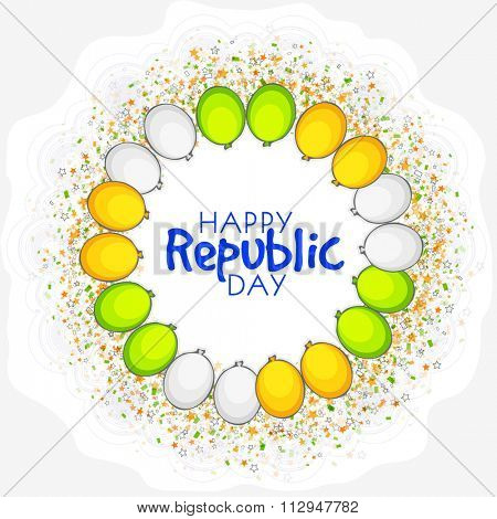 Elegant greeting card design decorated with tricolour balloons for Happy Indian Republic Day celebration.