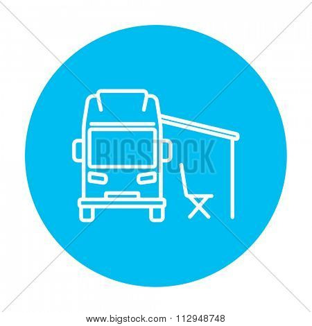 Motorhome with tent line icon for web, mobile and infographics. Vector white icon on the light blue circle isolated on white background.